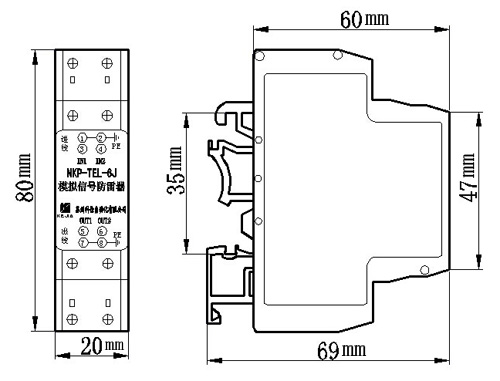nkp-tel-6j单路二线模拟信号防雷器